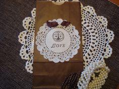 Paris Love Eiffel Tower Travel Theme Wedding Victorian Bags Brown Bridal Shower Bachelorette Party  4 Bags Birthday Favor Paper Doily. $4.50, via Etsy.