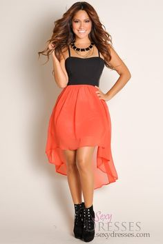 Sexy Black Bustier and Coral High Low Dress
