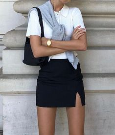 Stylish everyday outfits for the rest of the summer Black mini skirt with white knit top , Stylish Everyday Outfits To Get You Through The Rest Of Summer , Summer Outfits Source by emkafile. Look Fashion, Womens Fashion, Spring Fashion, Fashion Black, Ootd Spring, Classic Fashion, Petite Fashion, 70s Fashion, Cheap Fashion