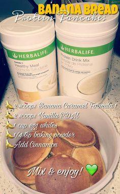 Banana Bread protein pancakes recipe! #Herbalife Visit valeriemoe.goherbalife.com to order!