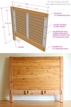 Diy Furniture Farmhouse How To Build – folding Diy Bed Frame Plans, Diy King Bed Frame, Bed Frame And Headboard, Wood Headboard, Fabric Headboards, Upholstered Headboards, Bed Frames, Furniture Projects, Diy Furniture