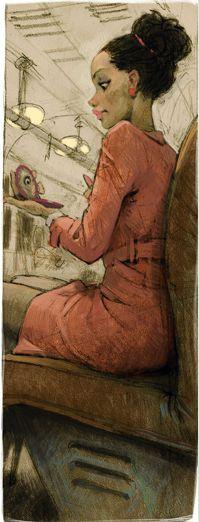 Retro Black Woman in Pink by Waldemar-Kazak