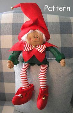 Pattern Primitive Raggedy Christmas Elf Cloth Doll Folk Art Sewing Craft 41 | eBay