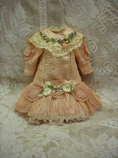 Gorgeous french Bebe Costume Dress Hat for antique Jumeau Steiner doll