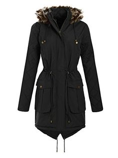 Fur Hooded Quilted Parka Jacket Long Sleeve Parka Winter Coats Fur Hooded Diamond Quilted Padded Jackets Two Side Pockets Waist Draw String Jackets Fish Tail Winter Long Coats Fabric Polyester Long Winter Coats, Long Coats, Padded Jacket, Parka, Blazer, Hoods, Raincoat, Fish Tail, Plus Size