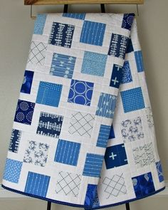 Red White And Blue Quilt Fabric Easy Blue And White Quilt Patterns Red White And Blue Quilt Patterns Kentucky Blue White Baby Quilt 1 Quilt Baby, Twin Quilt, Charm Square Quilt, Layer Cake Quilts, Two Color Quilts, Charm Pack Quilts, Toddler Quilt, Quilt Modernen, Quilting Designs