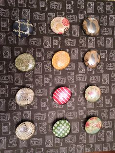 Large gem stone magnets. So easy and fun. Modge Podge paper and superglue the magnet. Cute homemade gifts.