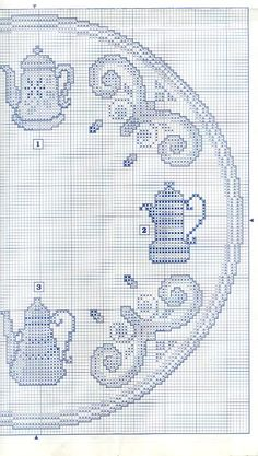 Coffee Pot Clock in Blues - Chart 2 Cross Stitch Boarders, Counted Cross Stitch Patterns, Cross Stitching, Cross Stitch Embroidery, Mantel Redondo, Monks Cloth, Cross Stitch Kitchen, Blue Tiles, Plastic Canvas Patterns