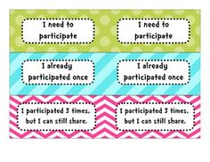 This is a printable classroom management tool. With many evaluations going to Charlotte Danielson, everyone needs to participate, so this is a great tool.    One side is used to see who has participated, while the other side is used while students are working independently.
