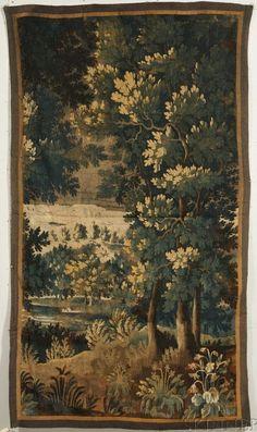 Flemish Verdure Tapestry Fragment I century Tapestry Weaving, Tapestry Wall Hanging, Tree Tapestry, Graphic Design Print, Cross Stitch Designs, Chandelier, 17th Century, Art Decor, Art Pieces