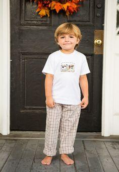Morning Hunt Smocked Pant Set.  #smockedclothing #smockedshirt #boutiquechildrensclothing #crescentmoonchildren