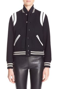 Free shipping and returns on Saint Laurent 'Teddy' White Leather Trim Bomber Jacket at Nordstrom.com. From the sleek leather articulating the shoulders and pockets to the varsity-striped ribbed knit trim, this wool-blend jacket makes classic bomber style look effortlessly cool.