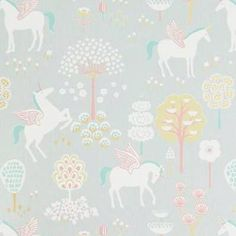 The wallpaper True Unicorns Grå - from Majvillan is a wallpaper with the dimensions x m. The wallpaper True Unicorns Grå - belongs to th Unicornios Wallpaper, Wallpaper Paste, Wallpaper Online, Kids Bedroom, Bedroom Decor, Bedroom Wall, Pastel Colors, Colours, Turquoise Wallpaper
