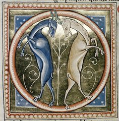 Medieval Bestiary : Goat Gallery  An elegant symmetrical illumination featuring two goats (dancing?).