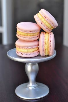 Macarons with passionfruit buttercream recipe - 1 part passionfruit puree with 1.25 parts buttercream