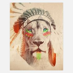 Lion with Headress 11x14 now featured on Fab.Face paint and a decorative headdress lend this lion legit flair and a bold visage. The interplay of neutrals with sharp color creates a bold, striking print.