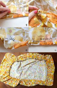 Make out of old sheets ♡ Easy fitted sheet instructions. Make fitted from a flat sheet. Make fitted from a flat sheet. I am thinking about making cushion covers this wayHow to make a fitted sheet from a flat sheet. This step-by-step tutorial will s Sewing Hacks, Sewing Tutorials, Sewing Patterns, Sewing Tips, Baby Sewing, Free Sewing, Sewing Fitted Sheets, Making Cushion Covers, Fabric Crafts