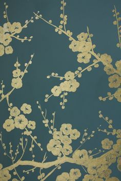 Gold painted mural on chalky teal wall...  (Note to self: freehand branches; prepare stamps or stencils for various leaves and blossom; base all on print on the vintage display cabinet to tie the room together)