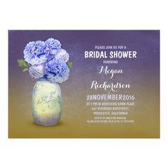 Painted mason jar rustic 5x7 bridal shower invitations. Artwork designed by jinaiji.