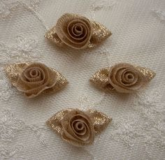 18 pc Gold Lame Ribbon Fabric Barrel Rose Flower Applique Shabby Chic Baby Doll