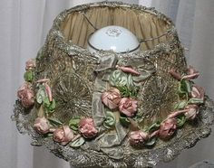 1920's French Metallic Lampshade with Swags of Pink Silk Ribbon Roses