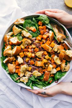 This roasted veggie salad (or Fall panzanella salad) is filled with homemade Italian croutons, roasted squash, roasted sweet potatoes, and roasted red onions. It's drizzled with an irresistible lemon honey vinaigrette. Veggie Recipes, Salad Recipes, Vegetarian Recipes, Healthy Recipes, Easy Recipes, Dessert Recipes, Snacks Recipes, Brunch Recipes, Delicious Recipes