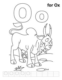 O For Ox Coloring Page With Handwriting Practice