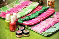 I like the idea of making cute toiletry bags to put the goodies in as a take home gift.