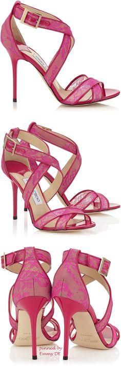 Emmy DE * Jimmy Choo 'Lottie' Raspberry Neon Lace Sandals #pink
