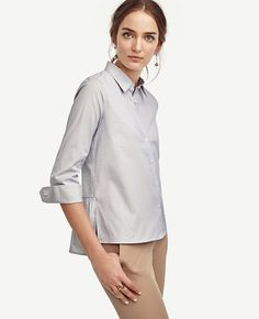 Image of Peplum Back Button Down
