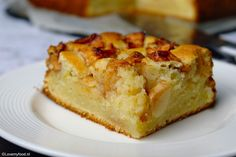 fresh apple cake with yogurt and lemon 3 Rhubarb Recipes, Apple Recipes, Sweet Recipes, Baking Recipes, Cake Recipes, Dessert Recipes, Dutch Recipes, Köstliche Desserts, Delicious Desserts
