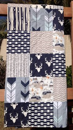 Rustic Baby Quilt Woodland Baby Quilt Deer Arrows by OyeBaby More