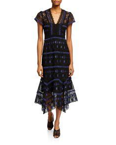 Nanette Lepore Fringe-trim Short-sleeve Lace Midi Dress In Navy Navy Midi Dress, Nanette Lepore, Fringe Trim, World Of Fashion, Fit And Flare, Short Sleeve Dresses, Luxury Fashion, Clothes For Women, Lace