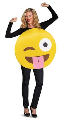 Get silly in this Tongue Out Emoji costume featuring a yellow emoji cut-out with a fun winking face and black shoulder straps. (Shirt and pants not included.) Tongue Out Emoji Costume, Emoji Costume, Smiley Face Costume