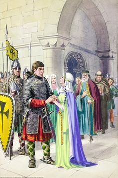 I like the woman in this drawing for the image of king Richard going off to war and then Queen Eleanor stood by him.