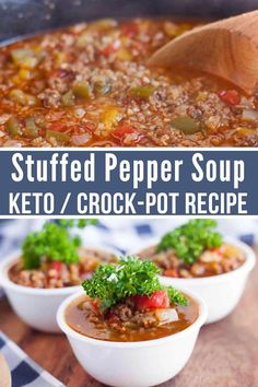 This Keto Stuffed Pepper Soup Crock-Pot Recipe is perfect is hearty, full of flavor, and mouthwateringly delicious. It is the perfect low carb soup recipe that everyone will enjoy. Keto soup recipe / keto crockpot recipes/ low carb soup / low carb so Low Carb Soup Recipes, Keto Crockpot Recipes, Slow Cooker Recipes, Diet Recipes, Healthy Recipes, Healthy Soup, Recipes Dinner, Low Carb Soups, Low Carb Taco Soup
