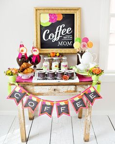 """Shower mom with dozens of gifts this Mother's Day. We love this bright and happy """"Coffee with Mom"""" brunch featuring Tiny Prints gifts and more. Mothers Day Event, Mothers Day Decor, Mothers Day 2018, Mothers Day Brunch, Happy Mothers Day, Mother Day Gifts, Gifts For Mom, Happy Coffee, Coffee Break"""