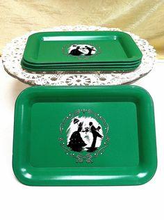 1950s Green Silhouette Design Litho Tray Set by ScarlettsFancies, $12.00