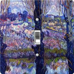 "Rikki KnightTM Van Gogh Art View of Arle - Single Toggle Light Switch Cover by Rikki Knight. $13.99. Washable. For use on Walls (screws not included). Glossy Finish. 5""x 5""x 0.18"". Masonite Hardboard Material. The Van Gogh Art View of Arle single toggle light switch cover is made of commercial vibrant quality masonite Hardboard that is cut into 5"" Square with 1'8"" thick material. The Beautiful Art Photo Reproduction is printed directly into the switch plate an..."