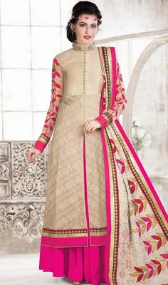 Do not be taken aback as you transform into a fairy tale princess as you are clad in this beige cotton silk and net embroidered palazzo suit. The beautiful floral patch, lace, resham and sequins work throughout the attire is awe-inspiring. #GorgeousLookFushiainkAndBeigeEmbroideredSuit