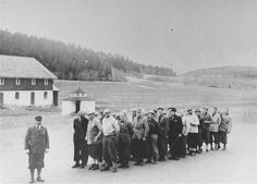 Norwegian teachers imprisoned for their refusal to participate in a Nazi teachers association.Falstad concentration camp, Norway, spring 1942