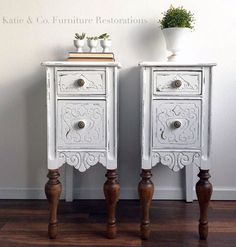 Do It Yourself Pet Property Guidance And Schematic Data Snow White Upcycled Bedside Tables General Finishes Design Center Painted Bedroom Furniture, Refurbished Furniture, Recycled Furniture, Furniture Projects, Table Furniture, Furniture Making, Furniture Makeover, Furniture Design, Bedroom Decor