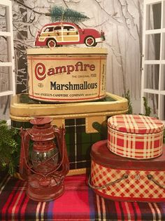 Vintage picnic tins and Campfire marshmallows tin adds to my Christmas plaid dec. Vintage picnic t Plaid Christmas, Retro Christmas, Country Christmas, All Things Christmas, Winter Christmas, Christmas Crafts, Christmas Decorations, Cabin Christmas, Xmas