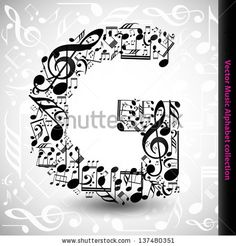 Abstract vector alphabet - G made from music notes - alphabet set