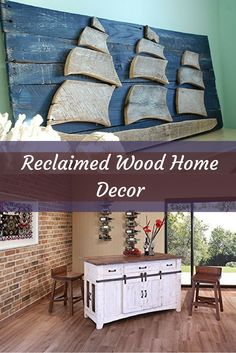 Reclaimed wood home décor is absolutely unique and charming.  I love the look of distressed wood whether it be on furniture or wall art.  I love barnwood home décor as it takes something old and re-purposes it which inspires all kinds of rustic reclaimed
