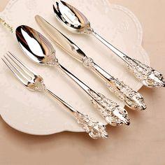 Criativo 20 pçs/set Prata Banhado Talheres colher Bife faca e garfo conjunto Talheres Louça Louça Natal Presentes de Casamento