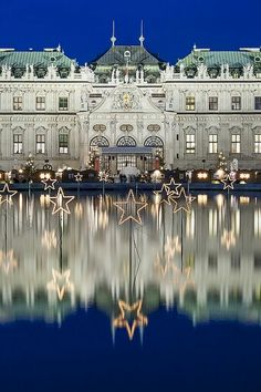 Christmas stars reflected in a pool at the Belvedere in the centre of Vienna, Austria Christmas In Europe, Christmas Travel, Vienna Christmas, Christmas Markets, Christmas Christmas, Christmas Lights, The Places Youll Go, Places To See, Rose Gold Christmas Decorations