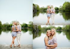 Lesbian engagement photos on the lake. Loving the outfits and natural setting. Great engagement photography ideas. #samesex #engagement
