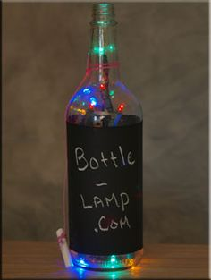 Chalk Board Bottle Lights - they make great signage for around the house or in a business.   http://www.bottle-lamp.com/our-bottles-on-etsy/chalk-board-bottle-lamps/