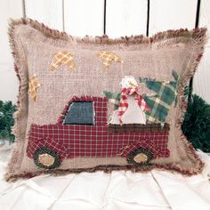 Snowman Picks Out the Perfect Christmas Tree Under a Starry Sky Burlap Pillow -- an original creation using Snow Scene Cut-Outs from Jubilee Fabric plus some creative imagination to make the truck! Christmas Crafts For Gifts, Christmas Sewing, Christmas Pillow, Primitive Christmas, Rustic Christmas, Christmas Projects, Christmas Diy, Christmas Ornaments, Christmas Truck